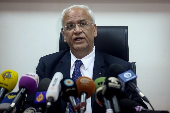 סאיב עריקאת במסיבת עיתונאים ביריחו, ב-15 בפברואר 2017 (צילום: פלאש90)