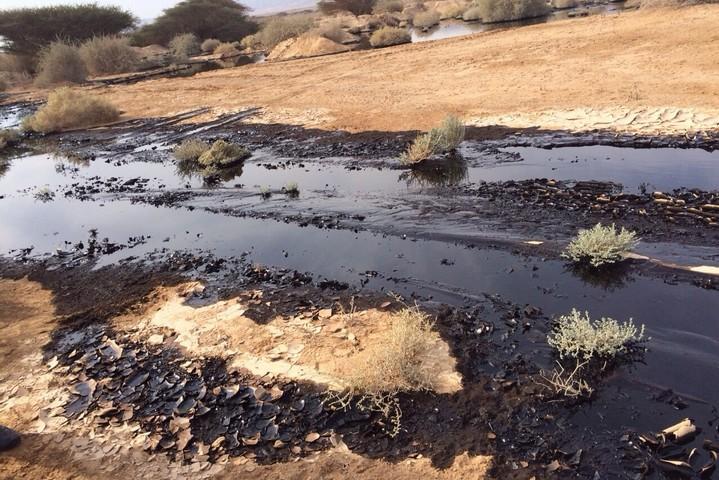 דליפת נפט באזור הערבה, בדצמבר 2014 (צילום: רשות הטבע והגנים)