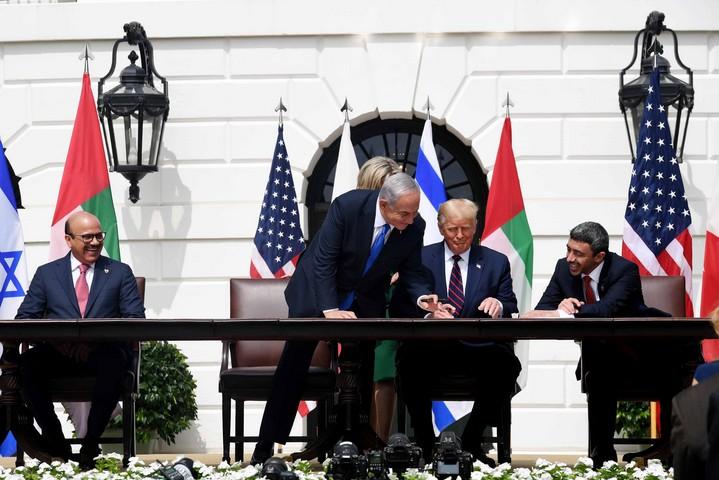 """טקס החתימה על הסכמי אברהם בבית הלבן, ב-15 בספטמבר 2020 (צילום: אבי אוחיון, לע""""מ)"""