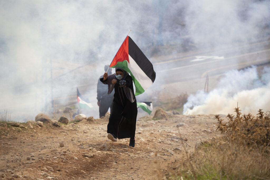 שוטרי מג״ב יורים גז מדמיע במהלך הפגנה בעין סמיה (צילום: אורן זיו)