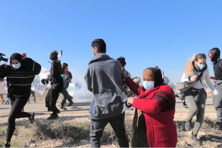 הפגנה בדרום הר חברון נגד הריסות הבתים (צילום: יובל אברהם)