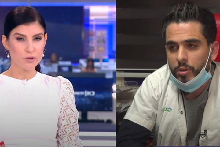 """גאולה אבן מראיינת את דר מוחמד עוואד שטיפל בפצועים אחרי הירי בטמרה. צילום מסך מהתוכנית """"ערב ערב"""" בערוץ 11"""