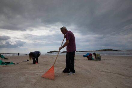 מתנדבים מנקים את חוף דור מזיהום הנפט בסוף השבוע (צילום: אורן זיו)