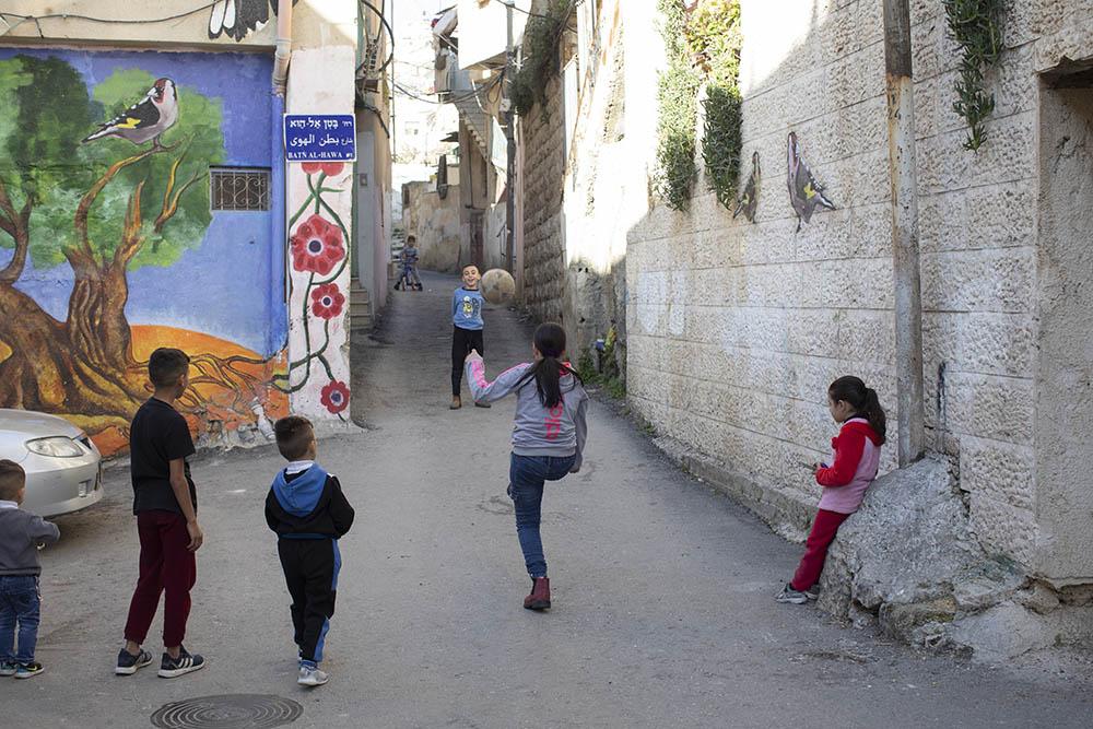 ילדים פלסטינים בשכונת בטן אל-הווא בסילוואן, 2021 (צילום: אורן זיו)