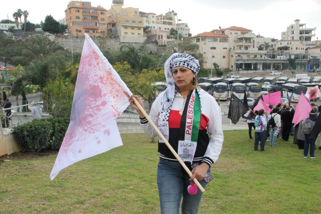 אחלם יונס אחלם יונס מסארווה, שנפעצה בהפגנה באום אל פחם (צילום באדיבות המצולמת)