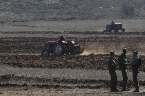 שוטרי משמר הגבול שומרים על חקלאים פלסטינים בכפר קוסרה בגדה המערבית, ב-19 בנובמבר 2013 (צילום: נתי שוחט / פלאש90)
