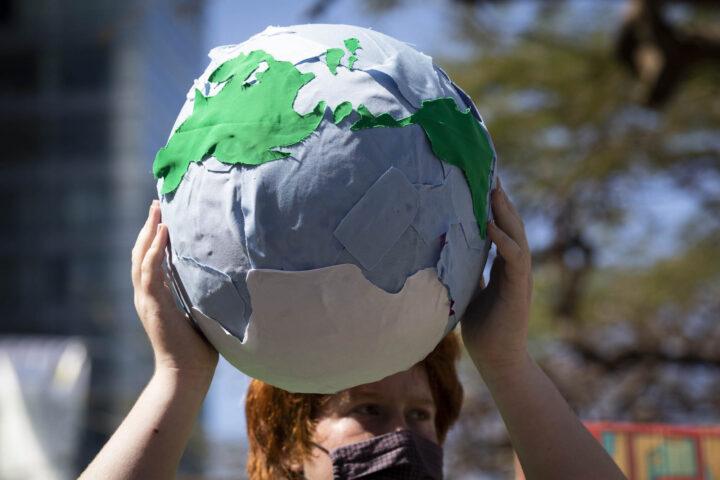 מחאת בני נוער למען האקלים בתל אביב, 19 במרץ 2021 (צילום: אורן זיו)