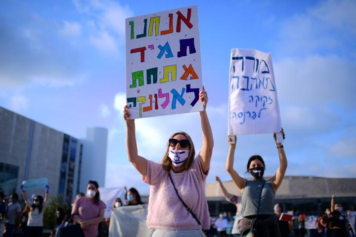 מורות מפגינות בתל אביב, ב-30 באפריל 2020 (צילום: תומר נויברג / פלאש90)