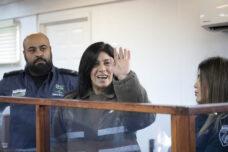 ח'אלדה ג'ראר, בבית המשפט הצבאי בעופר, ינואר 2020 (צילום: אורן זיו)