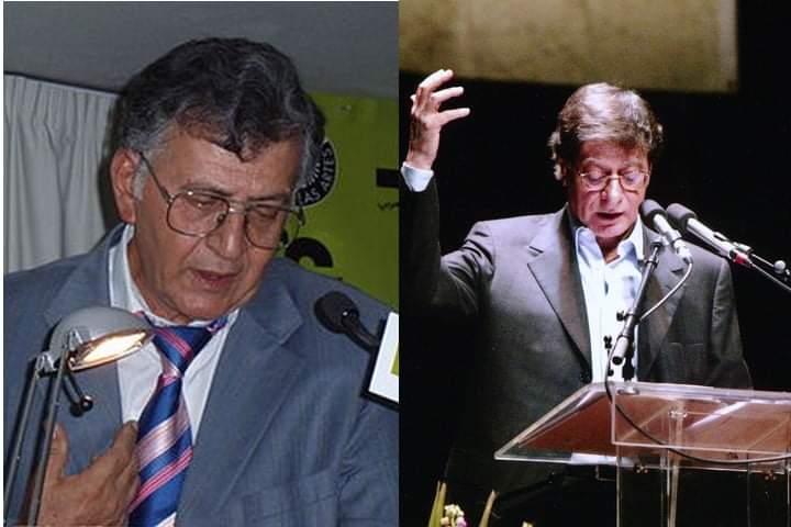 מימין: מחמוד דרוויש. משמאל: סמיח אלקאסם (צילומים: האתר הרשמי של מחמוד דרוויש; Anarbati)