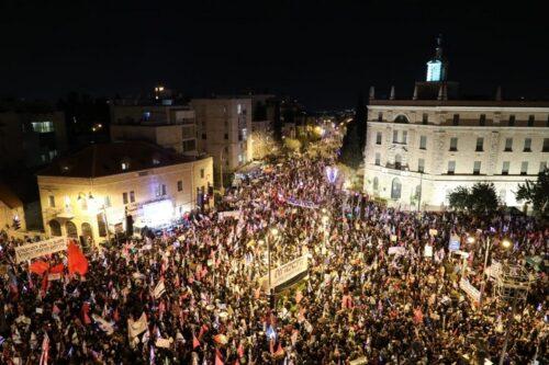 הפגנה בבלפור בירושלים, ב-20 במרץ 2021 (צילום: אורן זיו)