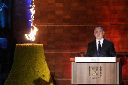 ראש הממשלה, בנימין נתניהו, בטקס יום השואה ביד ושם, ב-7 באפריל 2021 (צילום: אוליבייה פיטוסי / פלאש90)