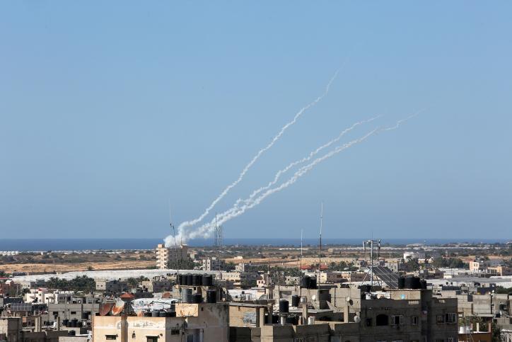 הגוף היחיד שמתנגד לישראל. ירי רקטות מעזה לכיוון ישראל (צילום: עבד רחים ח'טיב / פלאש 90)