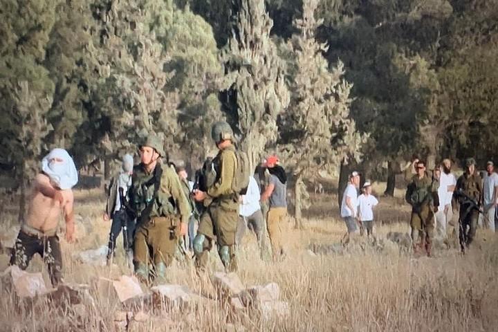 חיילים ומתנחלים באזור דרום הר חברון (צילום: באסל אל-עדרה)