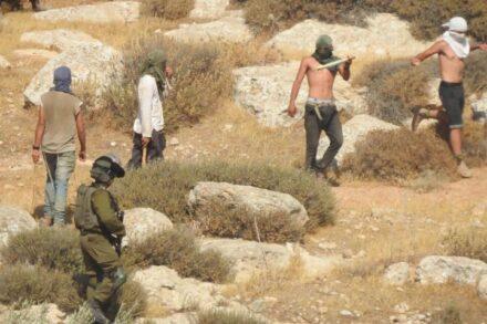 שבתות הפכו הסיוט של תושבי דרום הר חברון. מתנחלים תוקפים תחת עינם של החיילים. (צילום: באסל אל-עדרה)