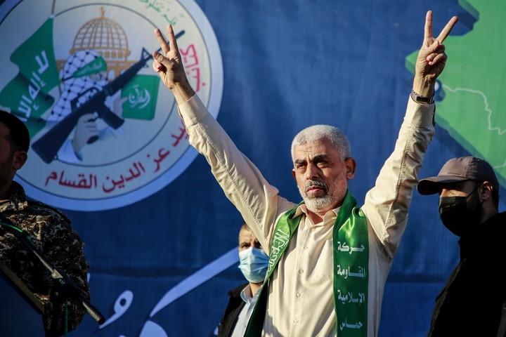 יחיא סינוואר, מנהיג החמאס, בעצרת בעיר עזה ב-24 במאי 2021 (צילום: עטיה מוחמד / פלאש90)