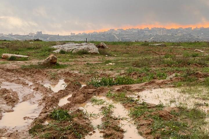 הצפות של שטחים חלקאיים אחרי סופת השלגים בסוסיא (צילום: נטשה ווסטהיימר)