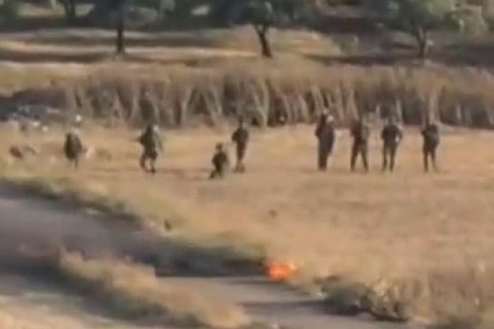 קורבן נוסף של יום הדמים בגדה (צילום מסך מתוך סרטון בצלם, המתעד את הירי במאלכ חמדאן מכפר סאלם)