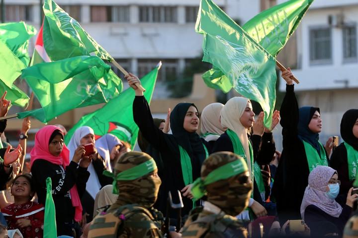 עצרת תמיכה בחמאס בעיר עזה, ב-24 במאי 2021 (צילום: עטיה מוחמד / פלאש90)