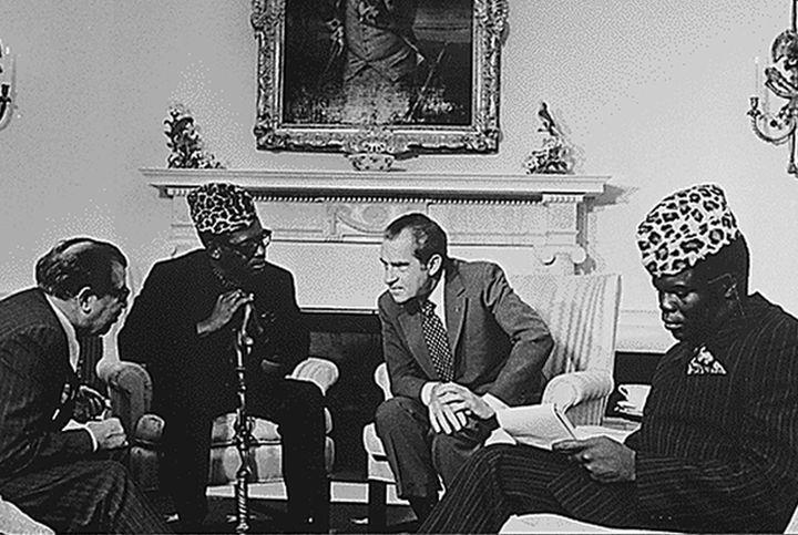 האמריקאים רצו לסלק את השליט האנטי-קולוניאליסטי הקודם. מובוטו בפגישה עם הנשיא ניקסון בוושינגטון ב-1973 (צילום: הבית הלבן)