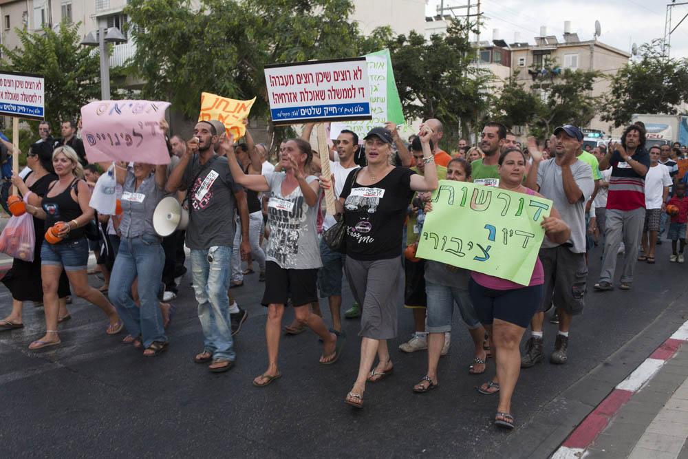 הפגנה בשכונת התקווה, באוגוסט 2011 (צילום: אורן זיו)