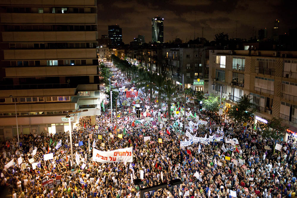 הפגנה במרכז תל אביב, באוגוסט 2011 (צילום: אורן זיו)