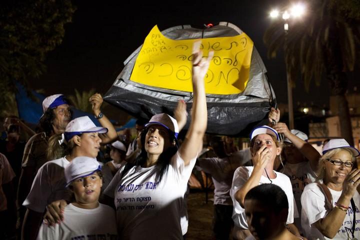 הפגנה במאהל בשכונת התקווה, באוגוסט 2011 (צילום: אורן זיו)