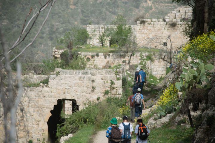 """הישרדות בתי הכפר היא סימן של """"צומוד"""". מטיילים בשרידי הכפר ליפתא ב-2014 (צילום: אקטיבסטילס)"""