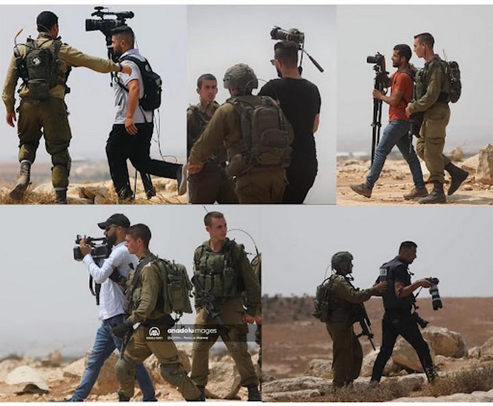 מעצר עיתונאים בדרום הר חברון (צילום: מאמון וזוז)