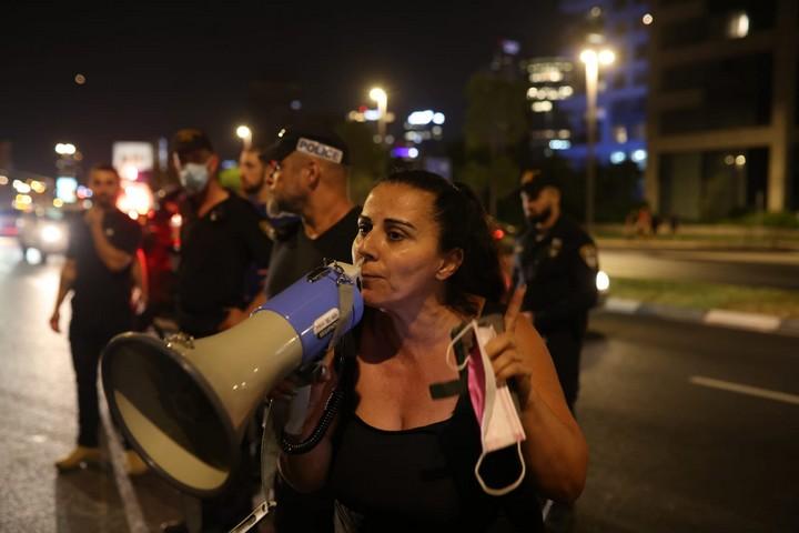 הפגנה בגבעת עמל, ב-1 באוגוסט 2021 (צילום: אורן זיו)