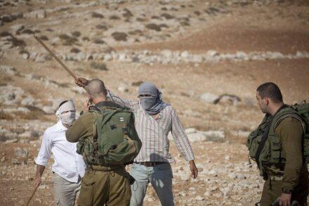 חיילים ישראלים ומתנחלים ליד ההתנחלות מעון, ב-22 בספטמבר 2012 (צילום: אורן זיו / אקטיבסטילס)