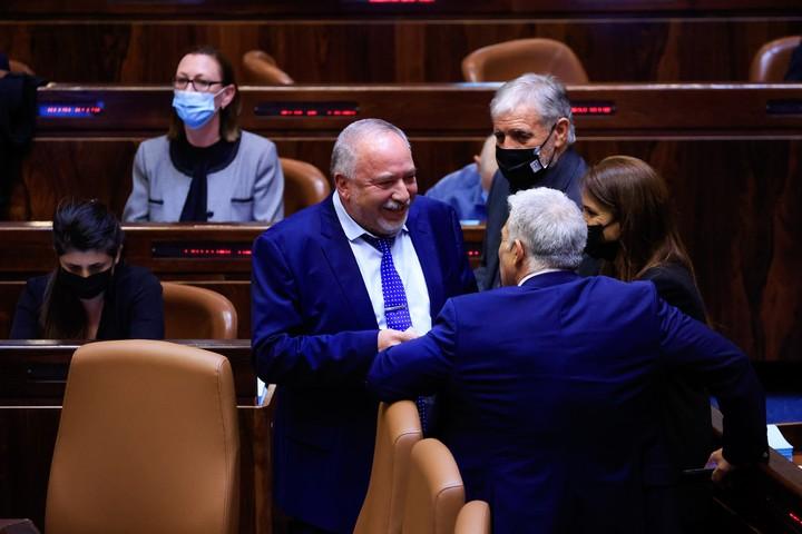 שר האוצר, אביגדור ליברמן, בכנסת בזמן ההצבעה בקריאה ראשונה על התקציב וחוק ההסדרים, ב-2 בספטמבר 2021 (צילום: אוליבייה פיטוסי / פלאש90)