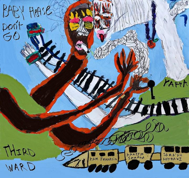 ציור של נור בזארי, אמן פלסטיני צעיר, שנעשה בהשראת השיר של אזרק (באדיבות סמאען עשראווי)