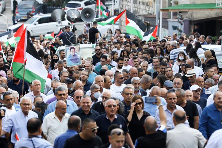 עלייה במספר המשתתפים לעומת שנים קודמות. העצרת לציון יום השנה ה-21 לאירועי אוקטובר בסח'נין (צילום: אלון נדב / פלאש 90)